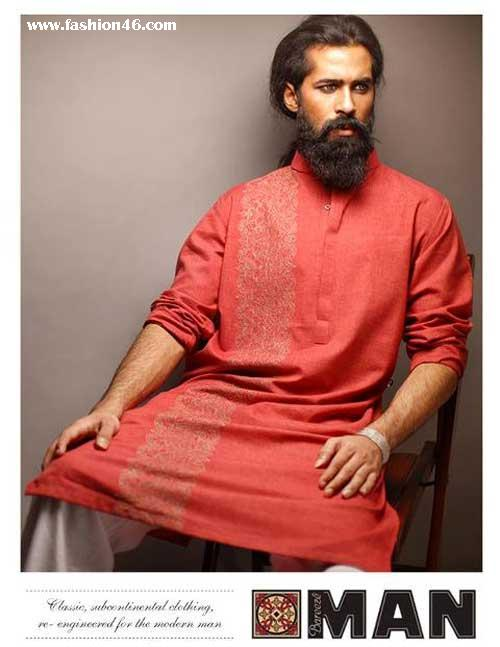Bareeze Winter Men Kurta designs 2013 Latest Mens Kurta Collection 2013 by Fahad and Deepak