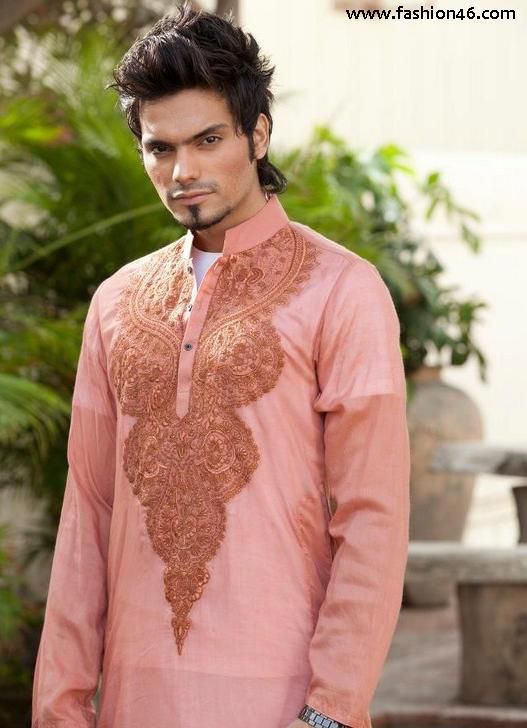 Latest Mens Kurta Collection 2013 by Fahad and Deepak 2013 Men's Fashion Sherwani collection by Deepak Perwani