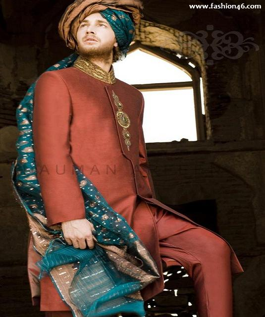 Naushemian Groom Dress in For Men Collection 2013 2013 Men's Fashion Sherwani collection by Deepak Perwani