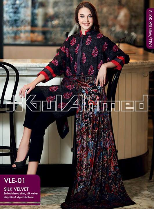 Gul Ahmed Silk Velvet Fall  Winter Collection 2013-14