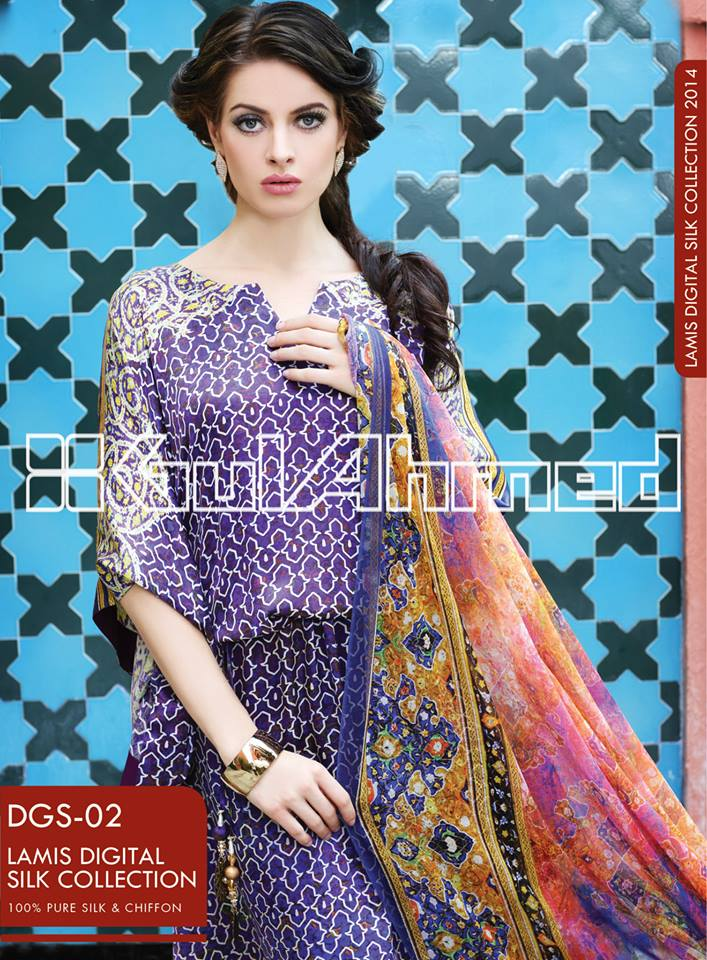 Gul Ahmed 2014 Lamis Digital Silk Collection Awesome 2013 Gul Ahmed Women Lawn Prints Collection