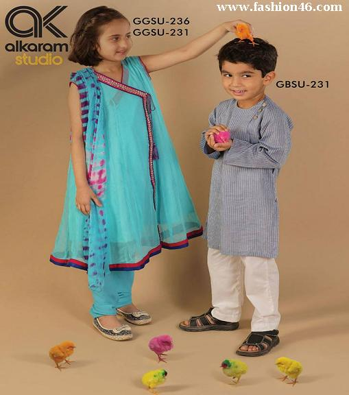 Latest Kids wear Eid Dress Collection 2014 by AlKaram Latest Kids wear Eid Dress Collection 2014 by AlKaram