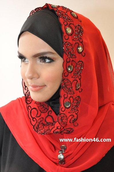 Latest Embroidered Hijabs 2014 For Women Latest Embroidered Hijabs 2014 for Women
